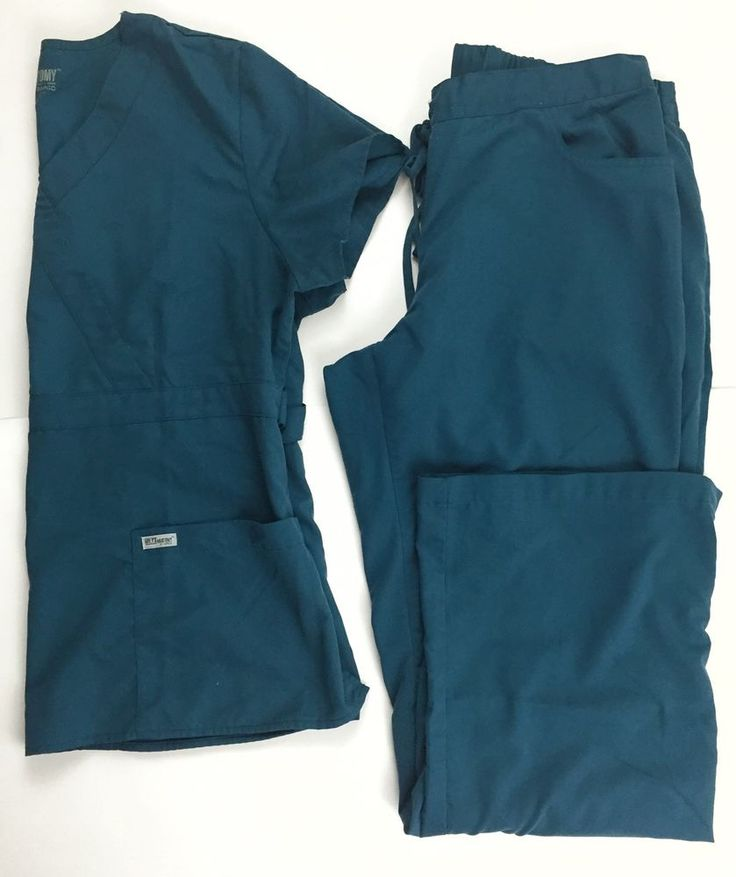 Grey's Anatomy Scrub Set XL Top L Bottoms Teal Blue Women'S   eBay