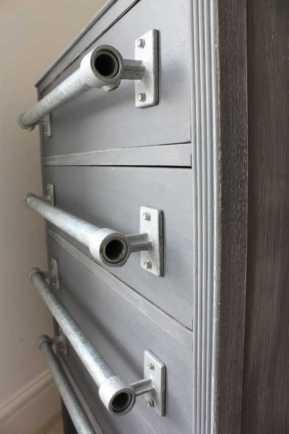 Pair Of Industrial Galvanised Steel Pipe Door Drawer Pull