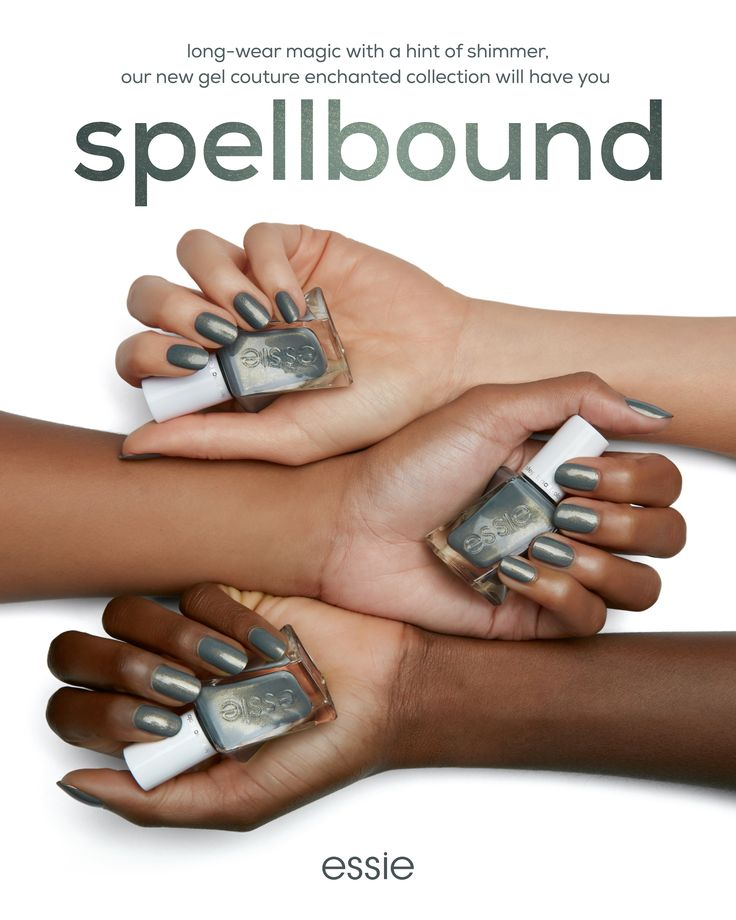 prepare to get 'spellbound' by this shimmery moss green shade. new essie gel couture enchanted gives you a flawless longwear mani in an easy 2-step system - no base coat or lamp needed for a perfect gel-like mani. it's a nail lover's fairytale mani come true. shop now at essie.com.
