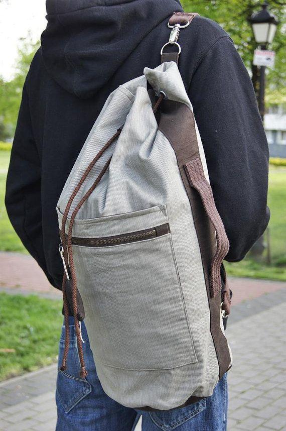 SAILOR BAG/ backpack Beige/ Brown stripes  cotton fabric sailor bag. Summer bag,.Sports bag.Gym bag.