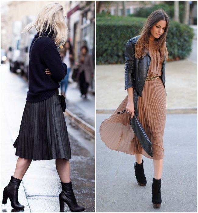 Street style com saia midi plissada com ankle boot, visual super coringa para usar tanto no verão quanto no inverno