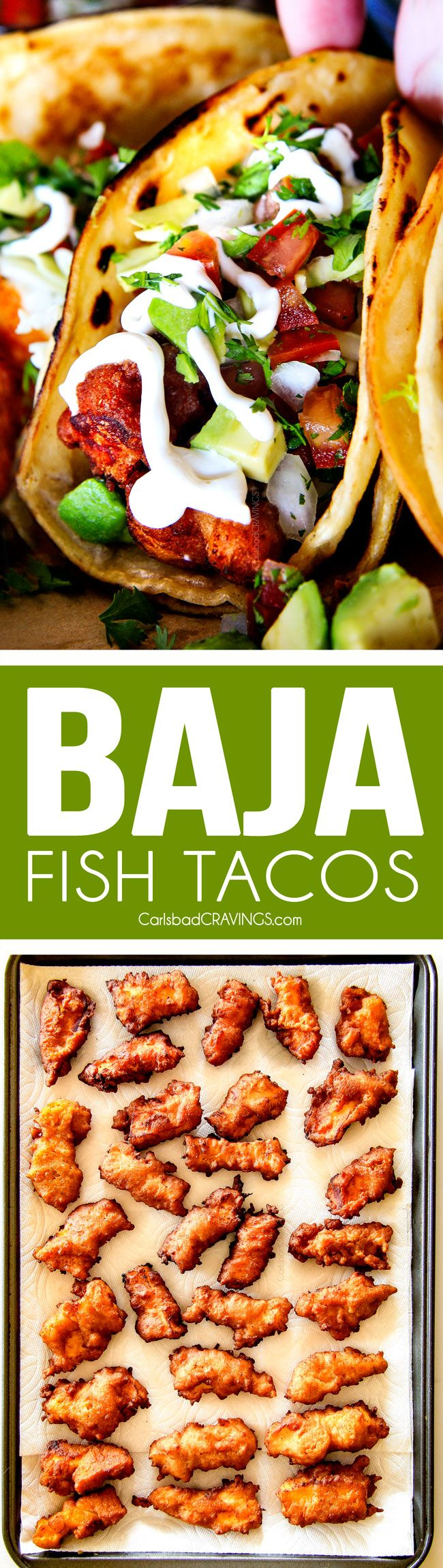 these Crispy fried Baja Fish Tacos are BETTER than any restaurant!!! I can't even believe how good these are and super easy with a one step batter. And don't skip the white sauce - its heavenly! (Crispy Baking Shrimp)