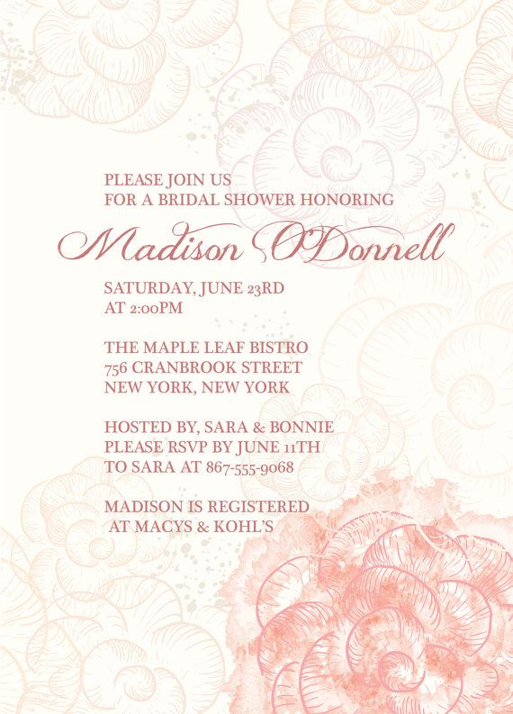 BRIDAL SHOWER Dusty Pink Rose Invitation size  4x6 by PaperPartyCo, $15.95