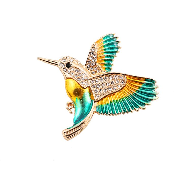 2017 Free Shipping Fashion Women's New Jewelry Drop glaze enamel hummingbird texture brooch corsage Fashion jewelry wholesale