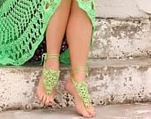 Kireç Barefoot Sandalet, sarı, yeşil Crochet Nude ayakkabı, Ayak takı, Düğün, Victorian Lace, Seksi, Yoga, Bellydance, Plaj Havuzu