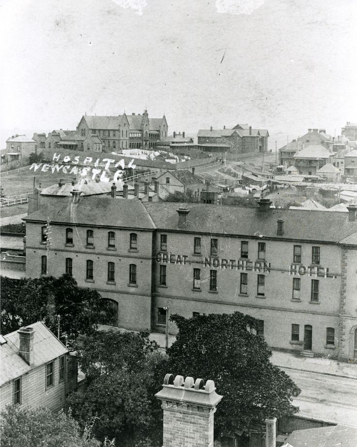 https://flic.kr/p/aBoERb | Great Northern Hotel, with the old Newcastle Hospital in the background (n.d.) | This photograph is from the Hospital archives held by the University Archives in Cultural Collections, Auchmuty Library, the University of Newcastle, Australia.  This image can be used for study and personal research purposes.  If you wish to reproduce this image for any other purpose you must obtain permission by contacting the University of Newcastle's Cultural Collections.   Please…