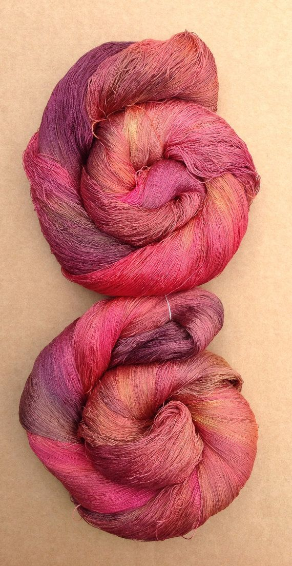 Hand Dyed Spun Silk Yarn Antique Red