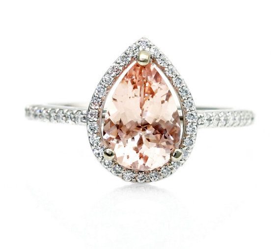 Pear Morganite Engagement Ring Diamond Halo Pear Morganite Ring 14K Custom Bridal Jewelry 18K Rose Gold Platinum