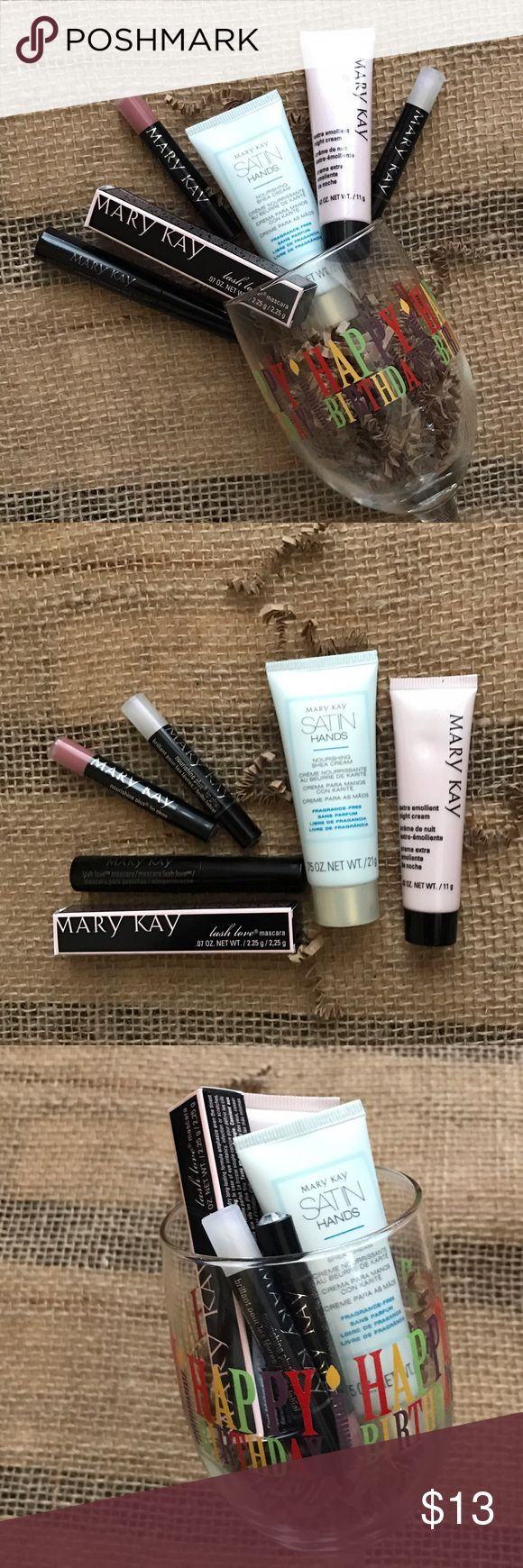 "Happy Birthday Wine Makeup Gift Set ""Happy Birthday"" Wine Glass filled with Mary Kay Deluxe / Travel Samples: 2 mini Lip Gloss, Extra Emollient Night Cream, Lash Intensity Black Mascara, & Satin Hands Lotion ✅All items new / not expired. ❌No trades. Price is firm unless bundled. Mary Kay Makeup"