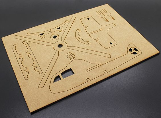 Military Helicopter Laser Cut Wood Model (KIT)