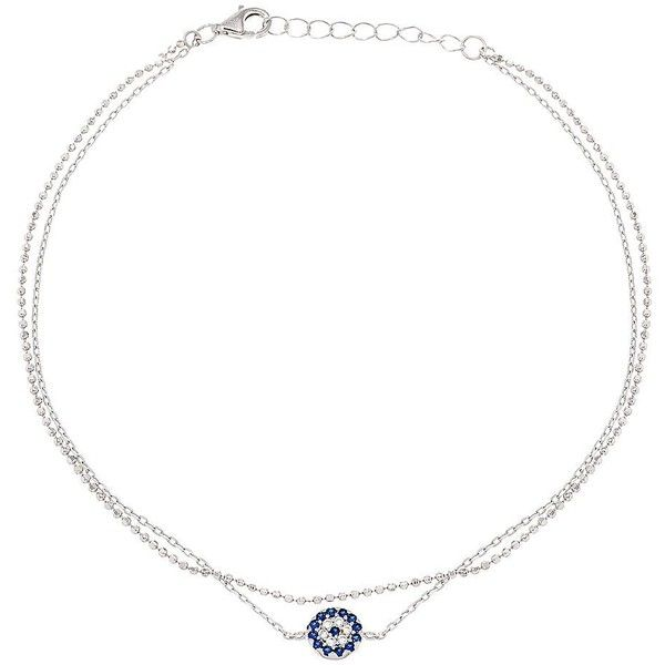 Lord & Taylor Cubic Zirconia, 18K White Gold and Sterling Silver Evil... ($23) ❤ liked on Polyvore featuring jewelry, silver, white gold anklets, cz jewelry, white gold charms, sterling silver anklets and cz jewellery