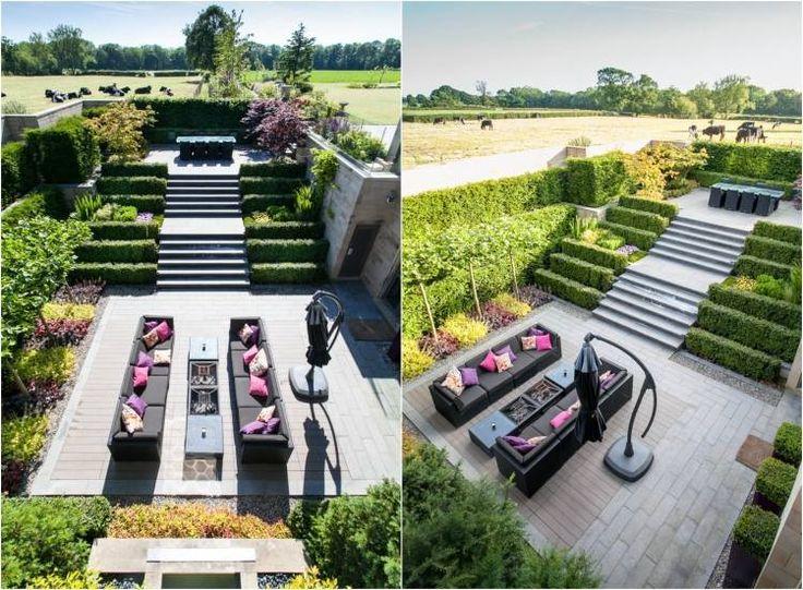 aménager son jardin en pente avec terrasse et haie verte