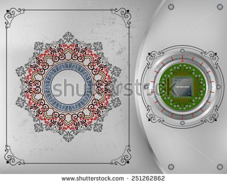 Abstract technology background; Processor Chip on metallic device nailed on steel board with screws; Ornamental arabesques frames and arabesque rosette/mandala on scratched metallic background.  - stock photo