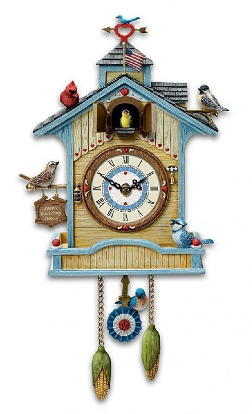 cute wall clock peep 39 s place birdhouse cuckoo clock by the bradford exchange kitsch. Black Bedroom Furniture Sets. Home Design Ideas