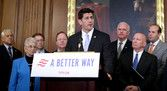 WASHINGTON, DC - JUNE 24: Speaker of the House Paul Ryan (R-WI) (C) addresses a news conference to introduce the House Republicans' tax reform proposal with House Ways and Means Committee Chairman Kevin Brady (R-TX) (5th L) and House Majority Whip Steve Scalise (R-LA) (3rd L) in the Rayburn Room at the U.S. Capitol June 24, 2016 in Washington, DC. Brady said that the GOP wants to 'bust up' the Internal Revenue Service, get rid of the estate tax and create a tax code so simple that Americans…