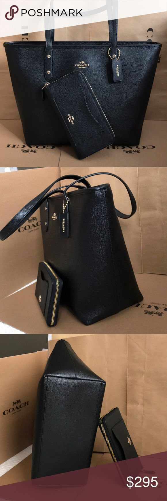 🍀Coach Set🍀 100% Authentic Coach Tote Bag and Wallet, brand new with tag!😍😍😍color Black Coach Bags Totes