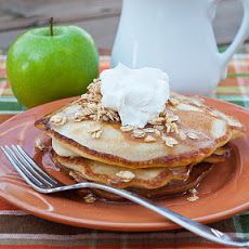 Cinnamon Green Apple Pancakes with Apple Cider Syrup