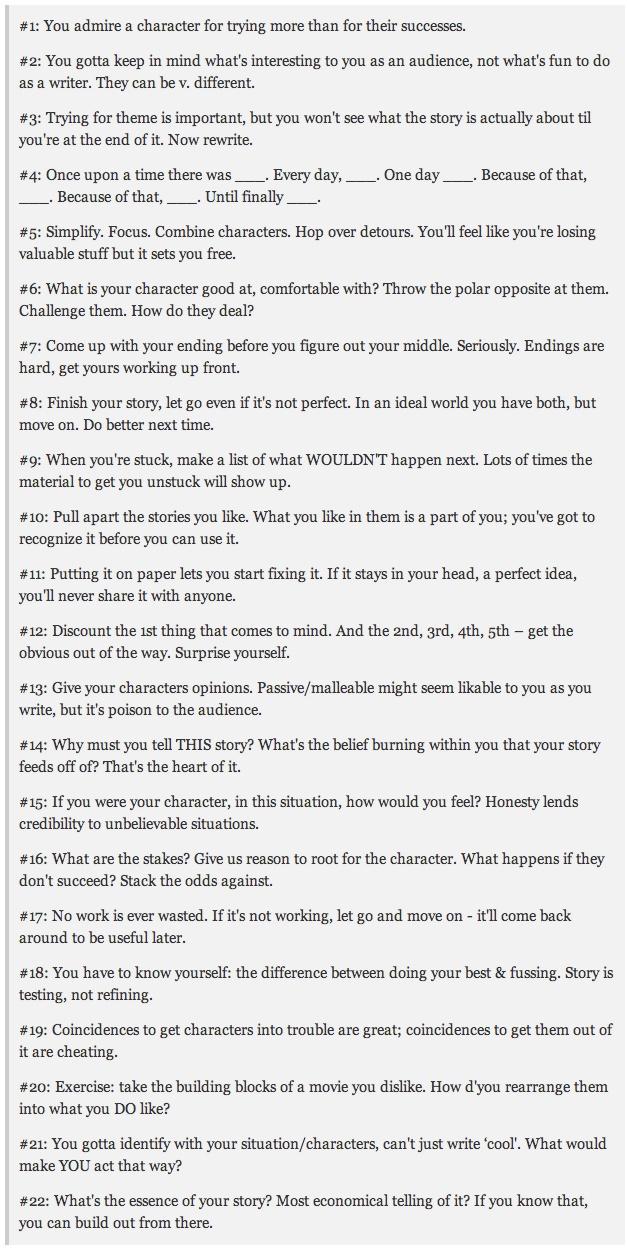 22 tips for writing a story, according to Pixar. http://io9.com ...