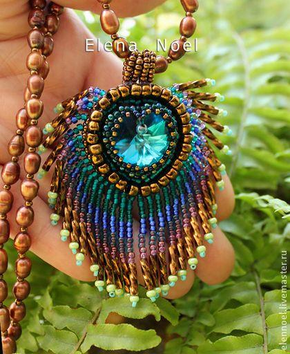 Кулон `Bermuda Blue` перышко синей птицы с кристаллом Сваровски. Кулон с сердечком Swarovski (Сваровски) необыкновенно красивого цвета Bermuda Blue.  Обратная сторона бронзовая кожа (Италия)   ___________________________________  Другие готовые работы в моем магазине, которые можно купить прямо сейчас:  www.