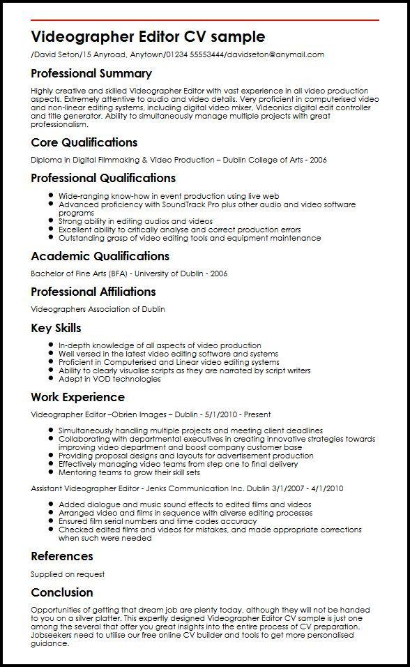 Cv Template Video Editor Cv Template Video Resume Resume