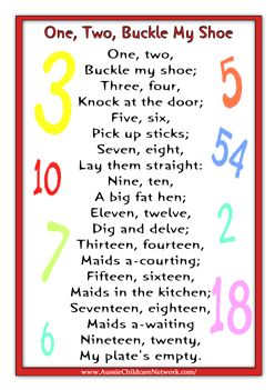 One Two Buckle My Shoe Rhyme Nursery Rhymes Pinterest