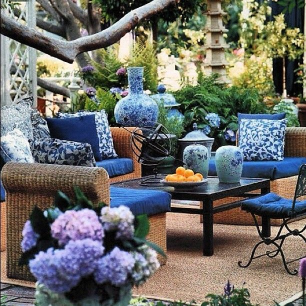 Outdoor Patio With Chinese Ceramic Accents