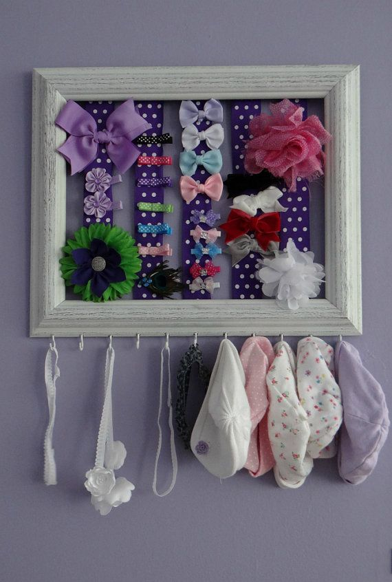 NEW Rustic Wodden Baby Girl Bow Headband and Hat Holder