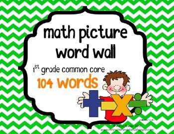 Common Core Math Vocab Words - 104 words - First Grade - Simple, picture vocab cards. Easy to understand for students and simple to use with lessons!
