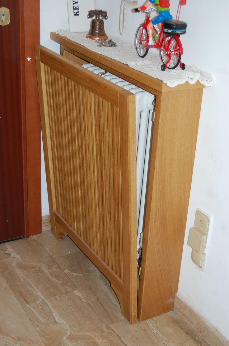 radiator cover in oak wood .