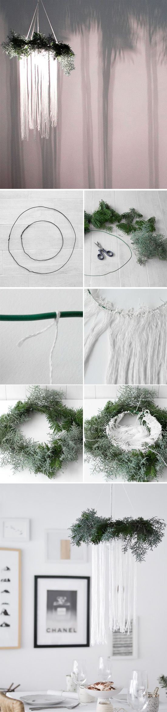 DIY dreamy christmas and winter wedding chandeliers