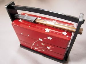 Japanese Traditional Lunch Box Sakura 3 Stage with Chopsticks Made in Japan