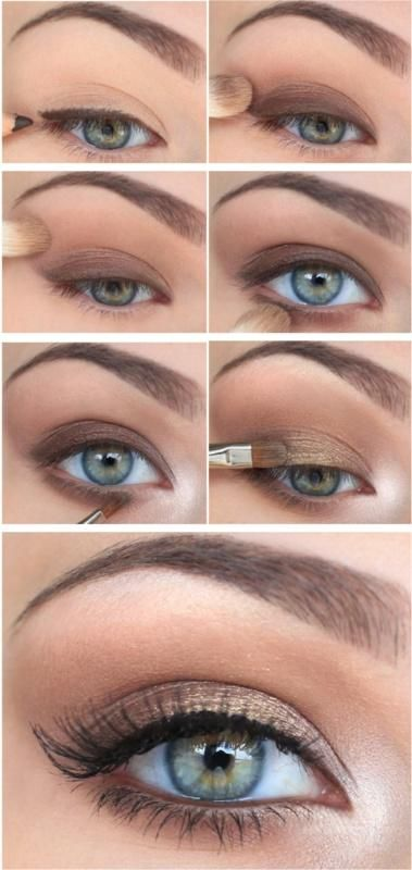 Victoria's Secret eye makeup perfection, gold and brown smokey eye and white in the crease from Snobka.pl.