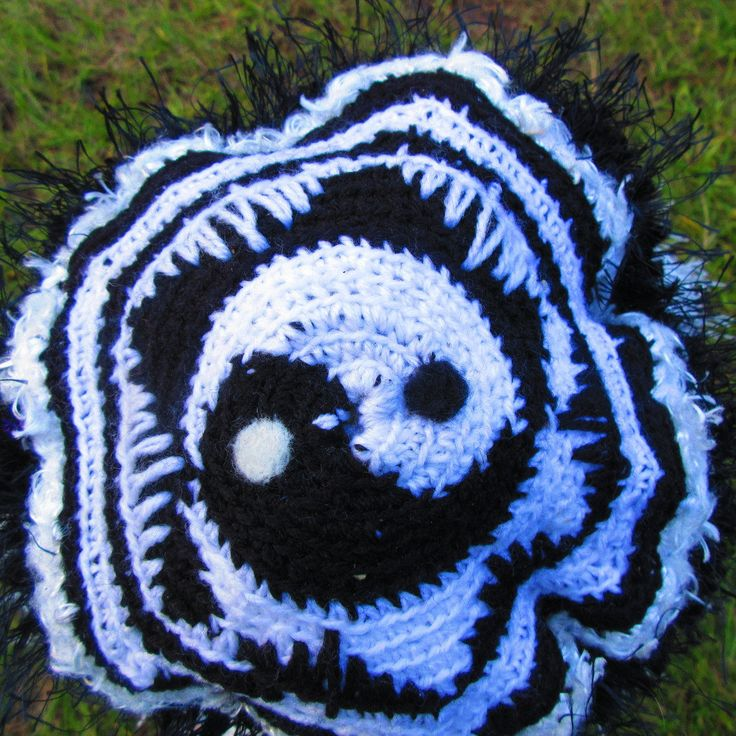 Yin Yang Black and White Crochet Hat by ArtNomadixMeggaYarnz on Etsy