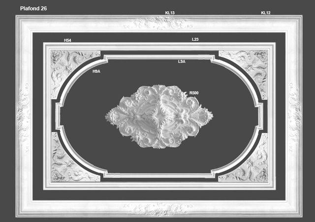 Plafond 26. Een klassiek plafond met een rozet van 140cm lang en passende hoekstukken.