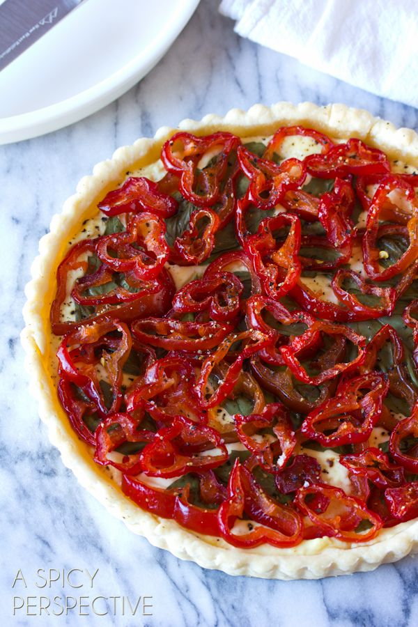 Goat Cheese & Candied Red Pepper Tart. Oh MAN!! Have you ever seen anything so marvelous?