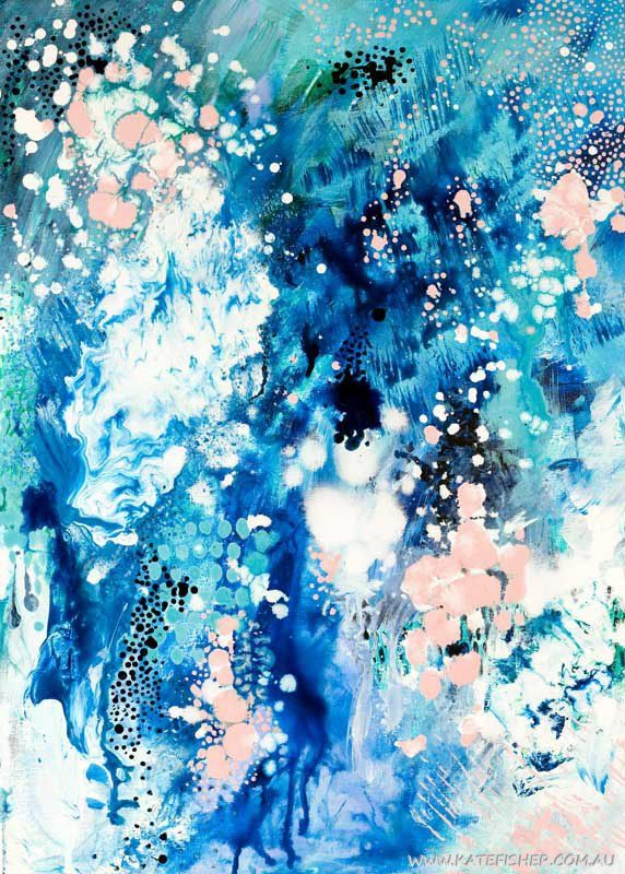 When Snow Falls Abstract Art Print - Kate Fisher Artist