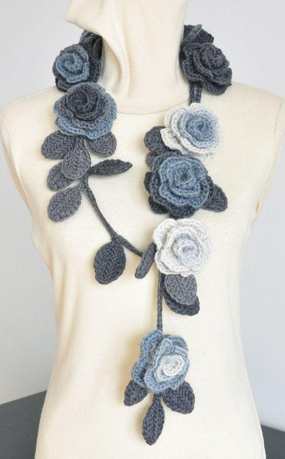 ROSA   GREY Crochet Grey Shade  Roses by jennysunny on Etsy, $27.00