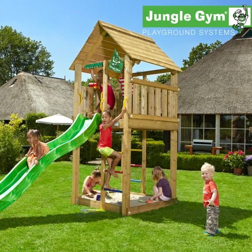 Jungle Gym Cabin - Wooden Climbing Frames for Children #wooden climbing frames for kids see more at www.woodenclimbingframe.co.uk