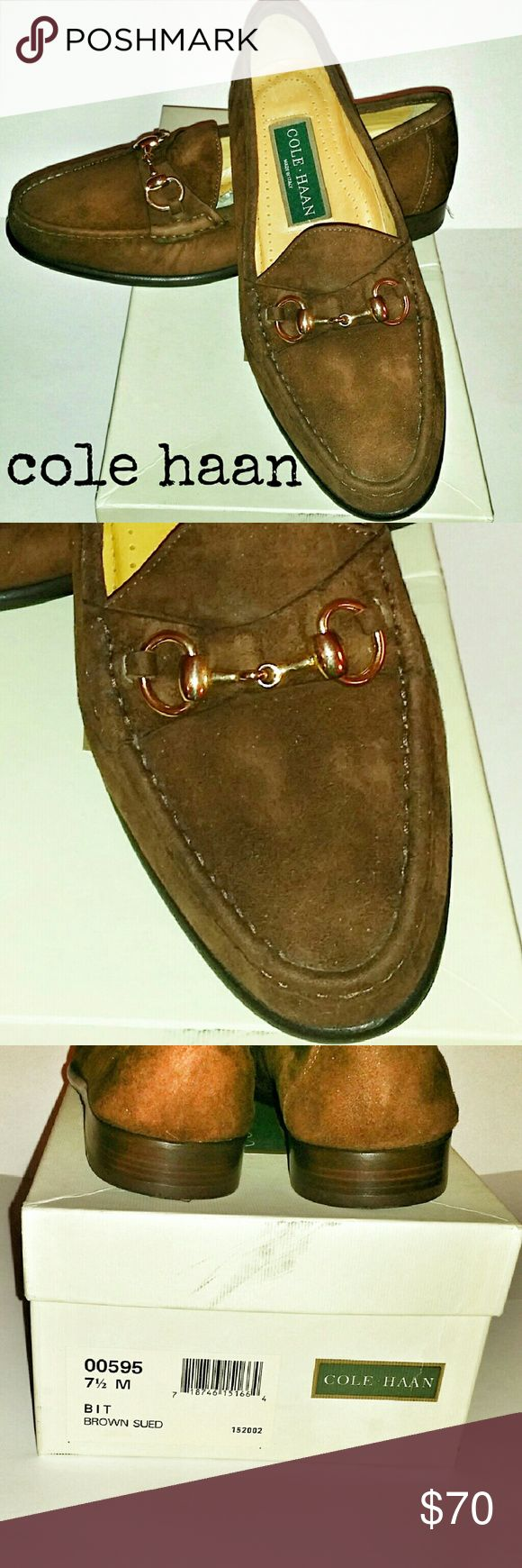 Cole Haan Men's Suede Loafers Fabulous never been worn. Soft suede with gold horsebit buckle. Cole Haan Shoes Loafers & Slip-Ons