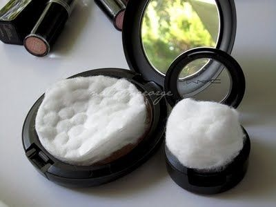 Before packing, place cotton pads and balls into your cosmetics to keep the powder from breaking. | 33 Moving Tips That Will Make Your Life So Much Easier