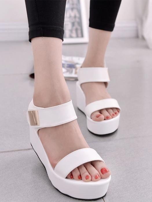 ceca4890758 Casual Ankle Strap Buckle Platform Wedge Sandals. Casual Ankle Strap Buckle Platform  Wedge Sandals Black Dress Sandals