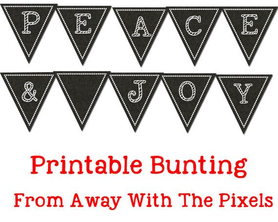 Printable Peace and Joy Chalkboard Bunting  by AwayWithThePixels