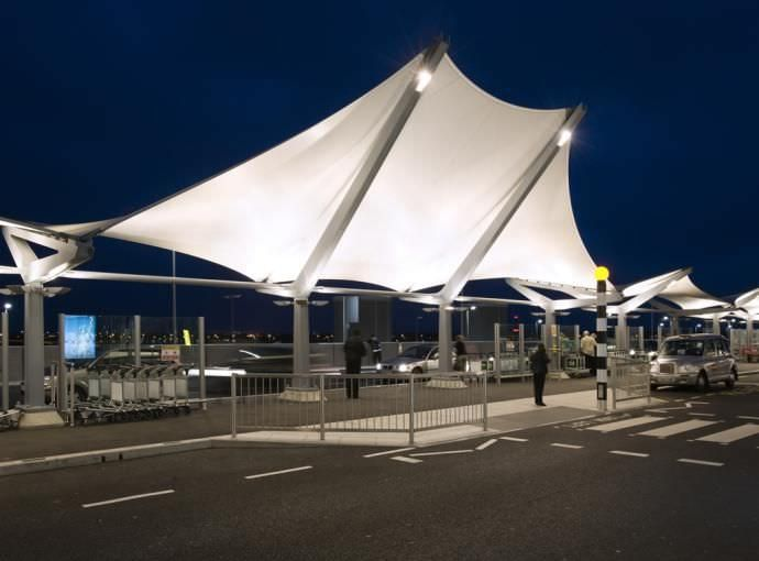 PTFE architectural fabric / for tensile structures / for entrance canopy - HEATHROW TERMINAL 5 - Base structures