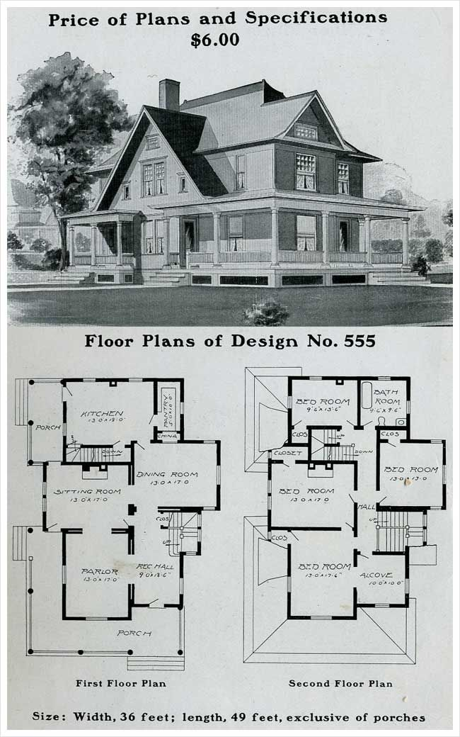 56 best vintage house plans just for fun images on pinterest vintage homes vintage house - Old farmhouse house plans model ...