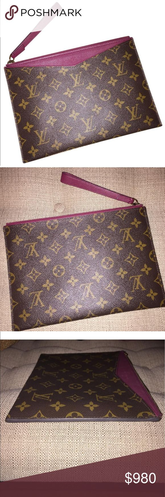 """Rare 🦄 Pallas Pochette in Plum bErry Monogram See item description in pictures. Includes 6 credit card slot on the interior with a flat exterior contrasting pocket.  9.6""""L x .2""""w x 6.8"""" H Louis Vuitton Bags Clutches & Wristlets"""