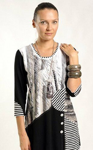 Lior Paris - Vertigo, Patchwork Tunic, Buttons & Trimmed Scoop Neck