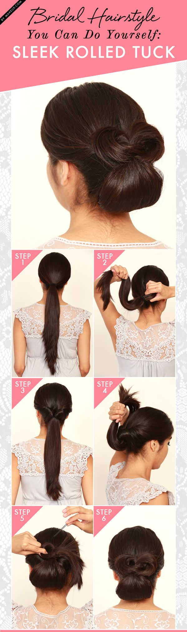 "A sleek bridal updo like this rolled tuck hairstyle is a DIY bride's best friend. Ladies with long locks, this sleek rolled tuck is the answer to your wedding day prayers. Calm your inner Bridezilla and give it a whirl — you'll be much better equipped to channel your ""blushing bride"" side afterwards, trust us."