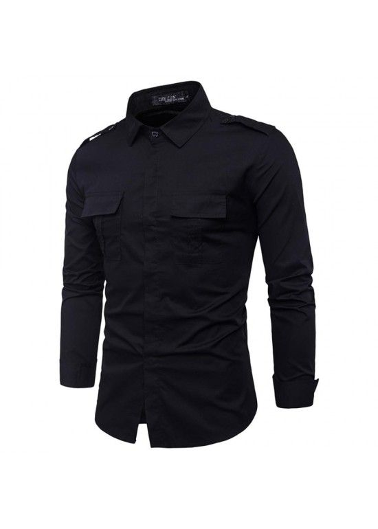 Camisa Masculina Slim Bolso Duplo Manga Longa - Preto  9f65955ee2387