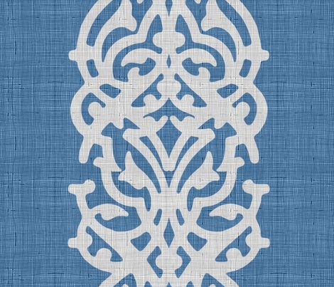 arabesque_linen_blue fabric by chicca_besso on Spoonflower - custom fabric