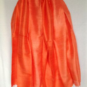 Large Orange 2 Tone Thai silk scarf, 100% pure silk scarf, hand woven silk scarf, hand dyed silk scarf, loom woven silk scarf, dip dyed silk